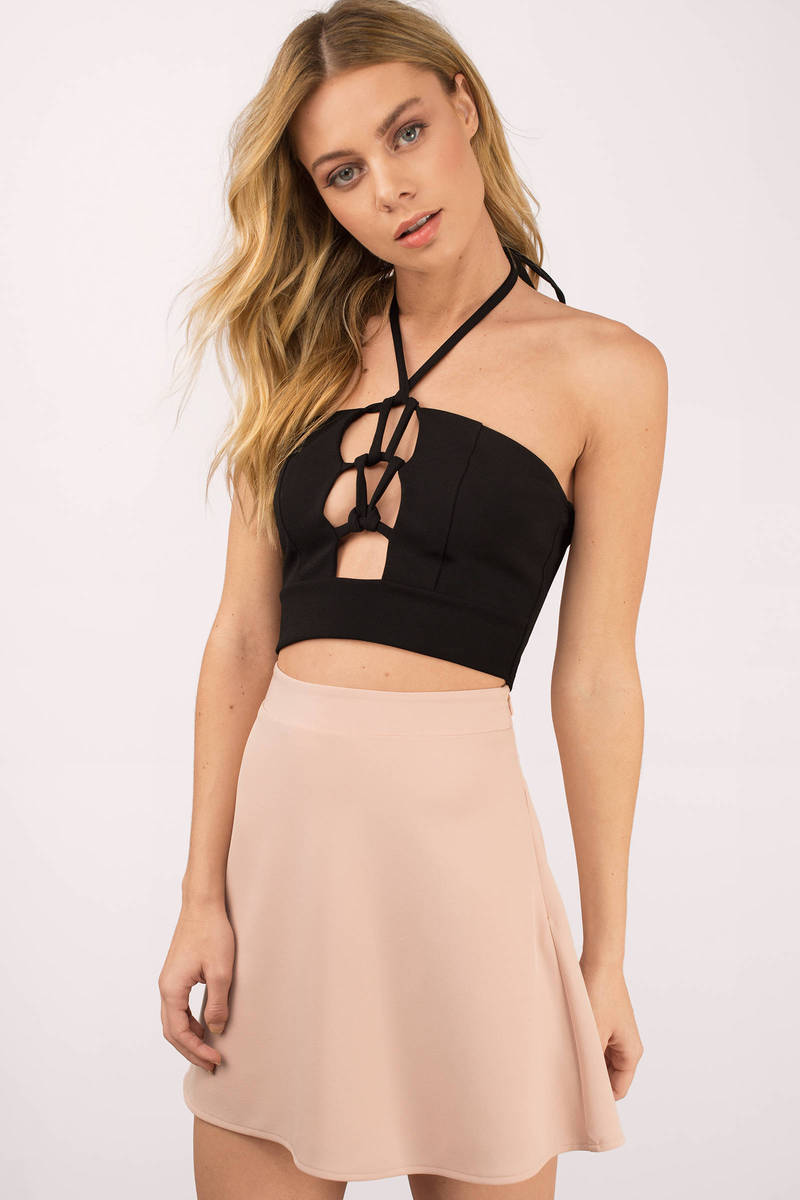 Nikki Black Halter Crop Top