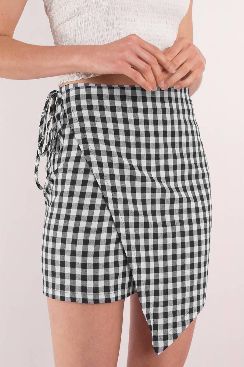 Reverse Reverse No Matter What Black Gingham Print Skirt