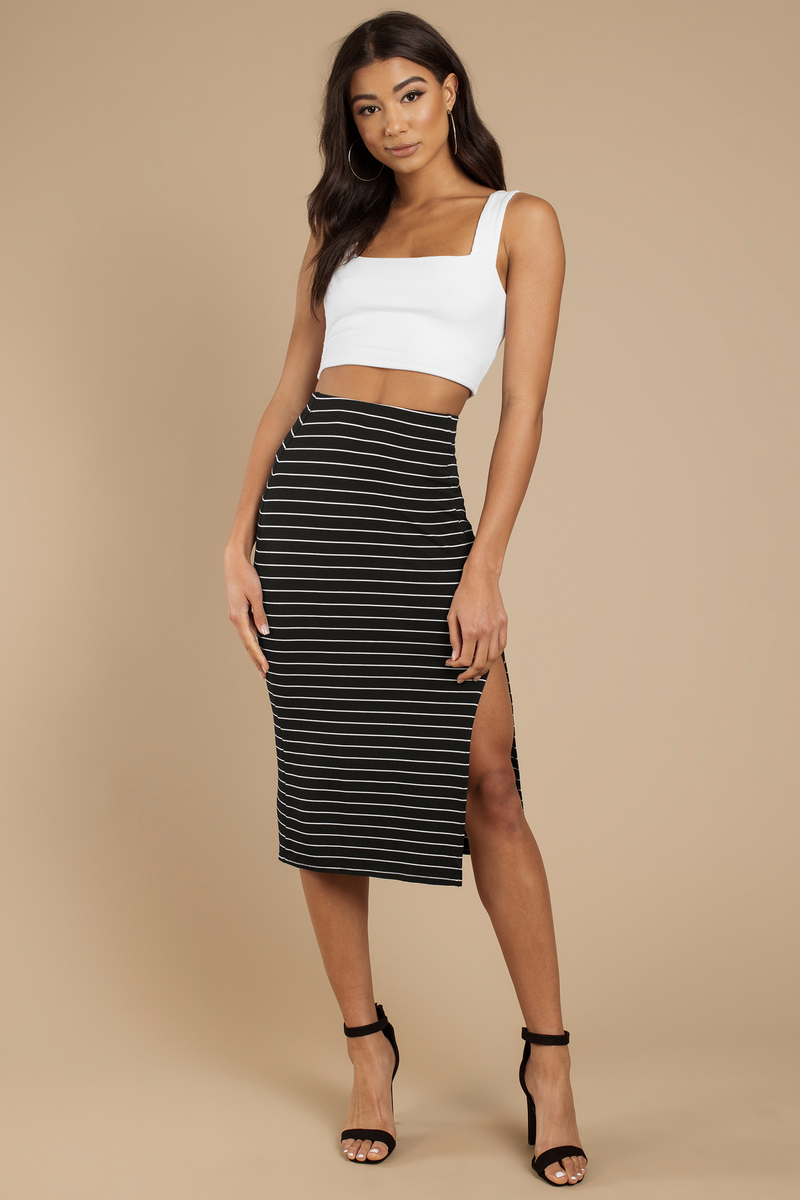 No Questions Black Striped Midi Skirt