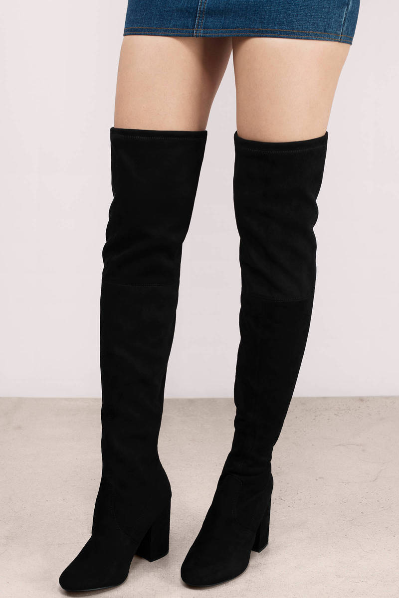 Trendy Black Boots - Black Boots - Suede Boots - $130.00