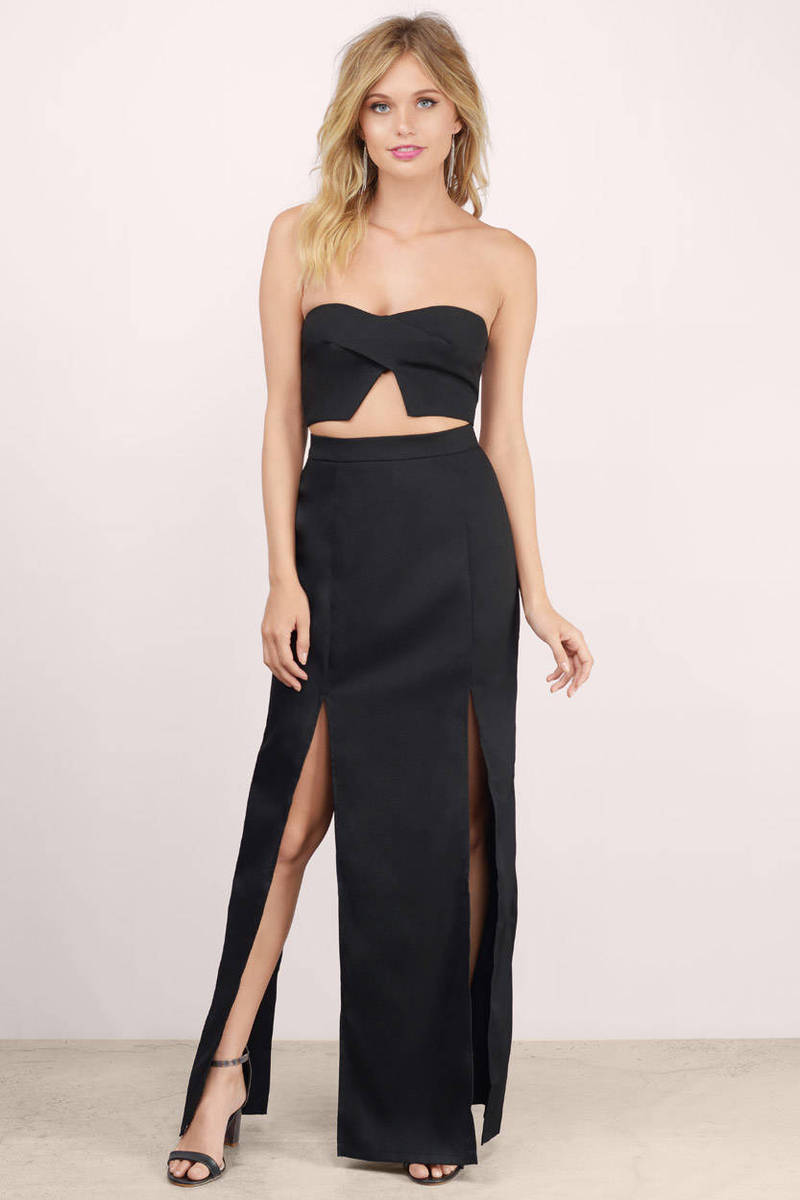 Not Up To You Black 2-Piece Maxi Set