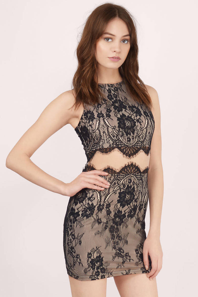 Darkest Desire Black & Nude Lace Bodycon Dress