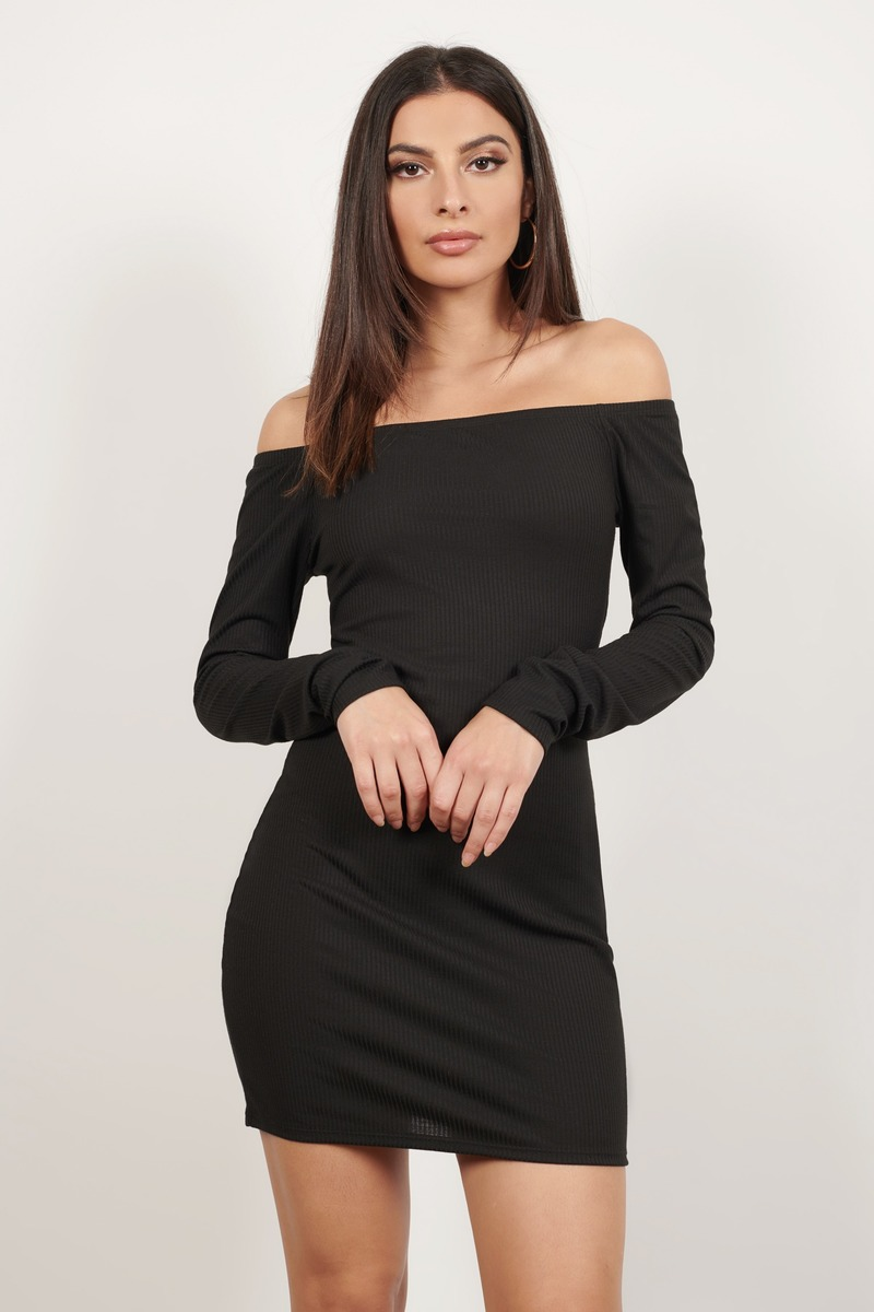 Off My Shoulder Black Bodycon Dress