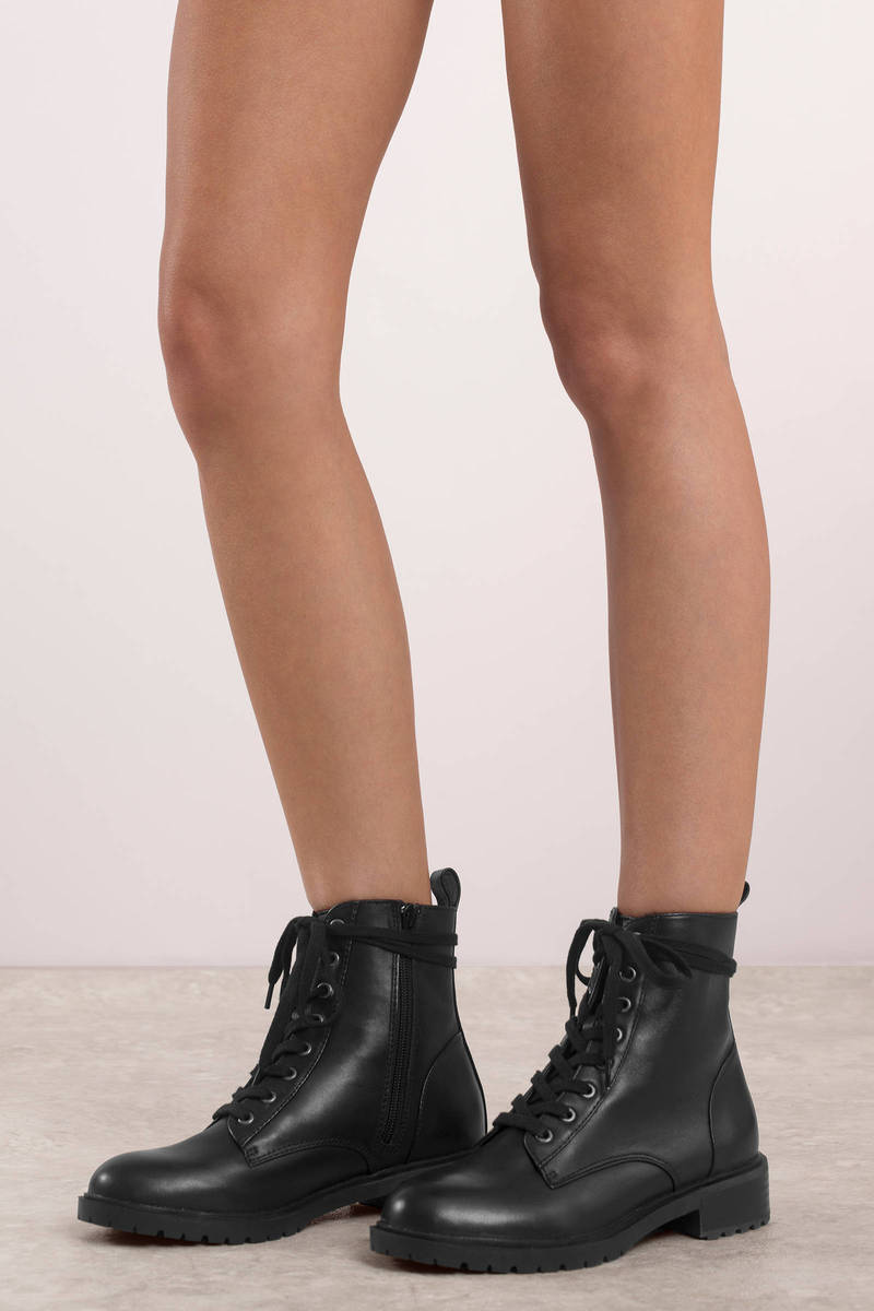 1bf50c06176 Black Steve Madden Boots - Lace Up Combat Boots - Black Officer ...