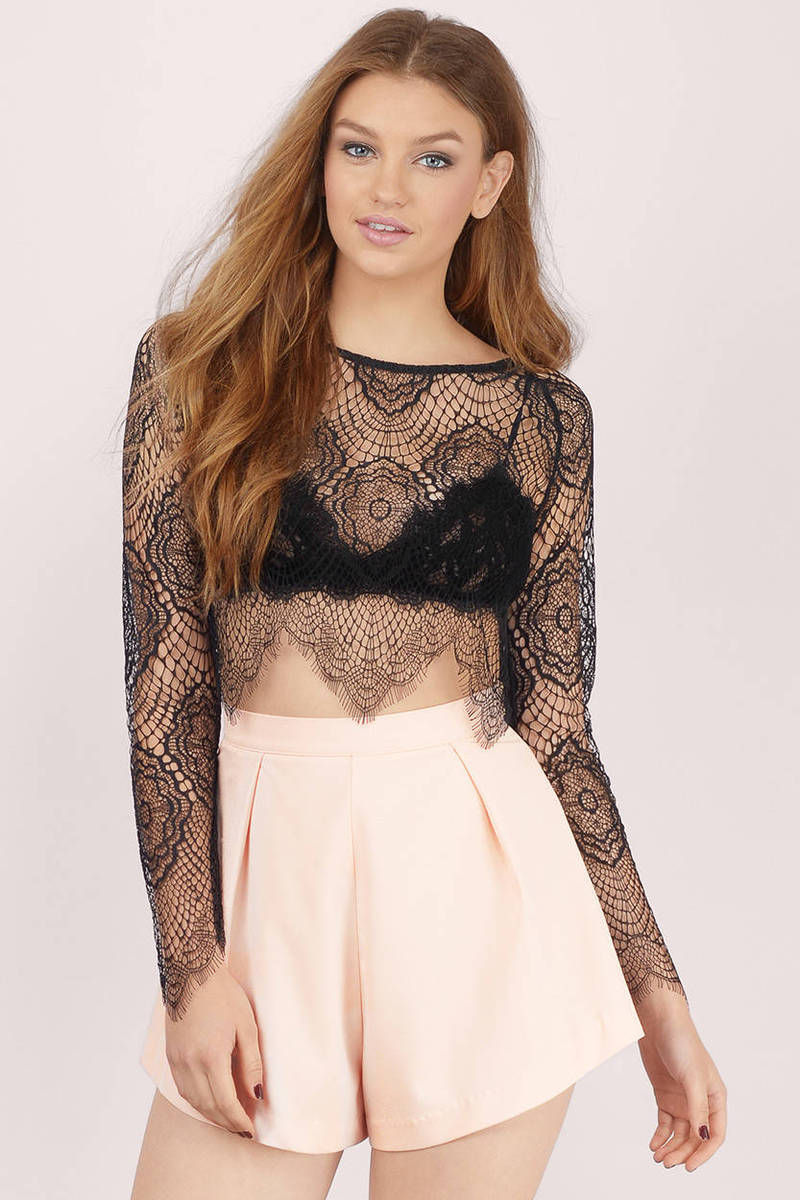 Oh So Lacey Lavender Crop Top