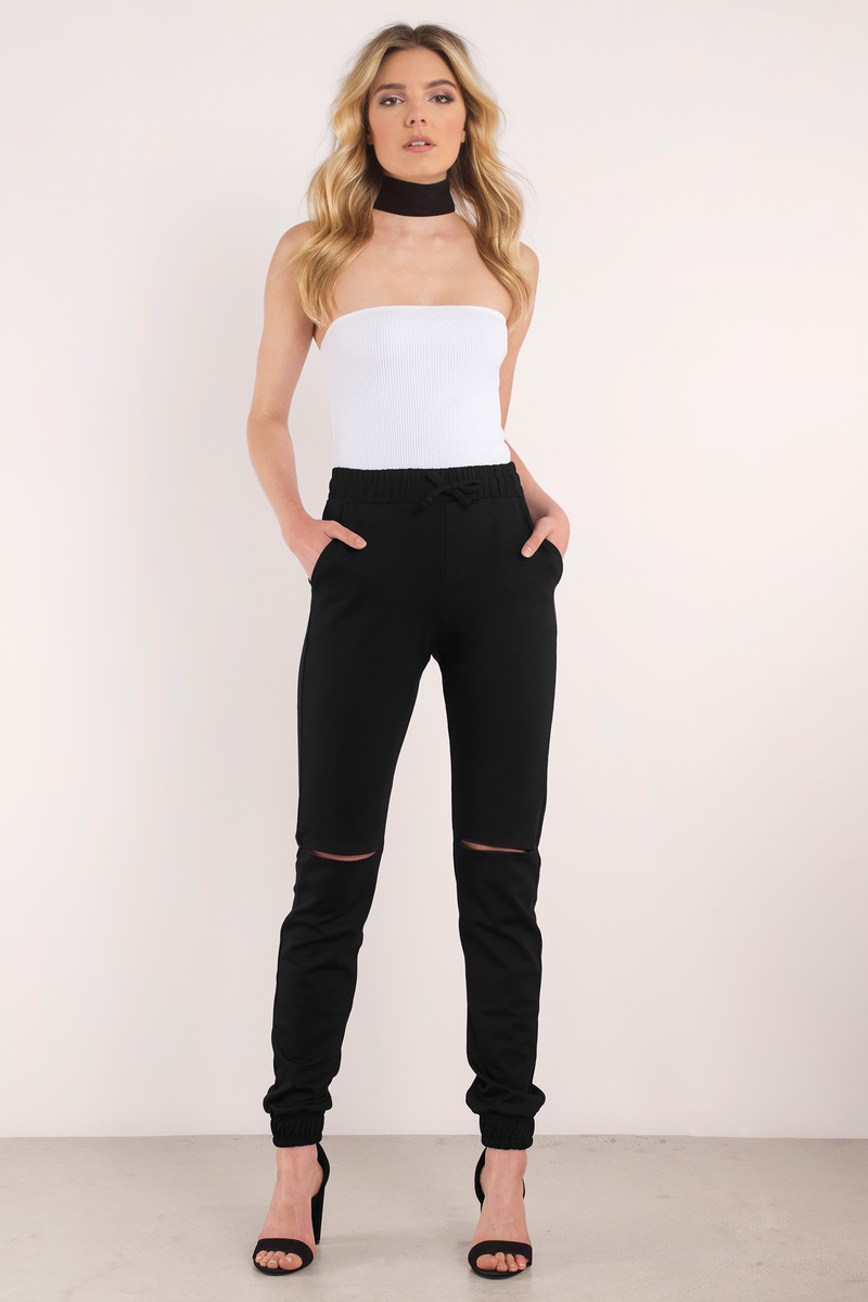 On The Run Black Cut Out Jogger