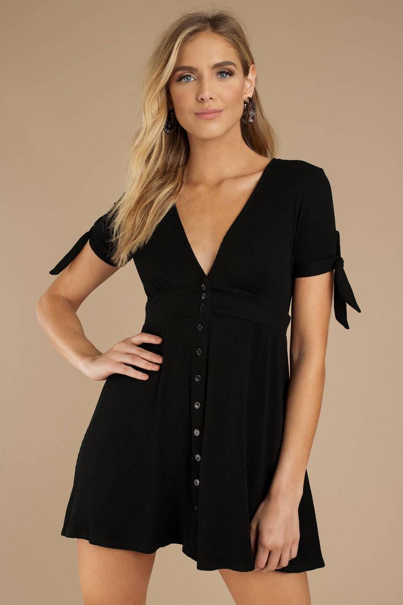 caf36528ba Black Skater Dress - Button Up Dress - Black Short Sleeve Dress ...