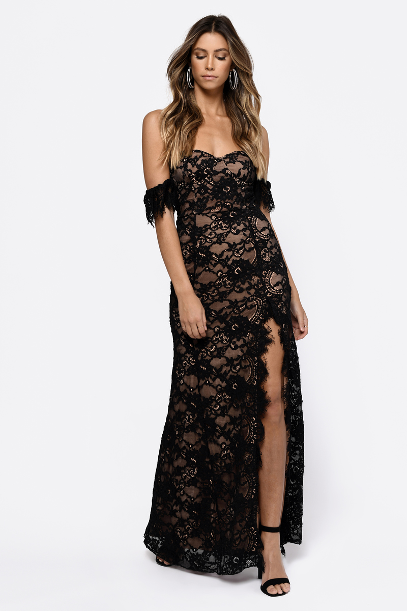 46f111d78831 Black Maxi Dress - Long Lace Dress - Black Romantic Dress - Elegant ...