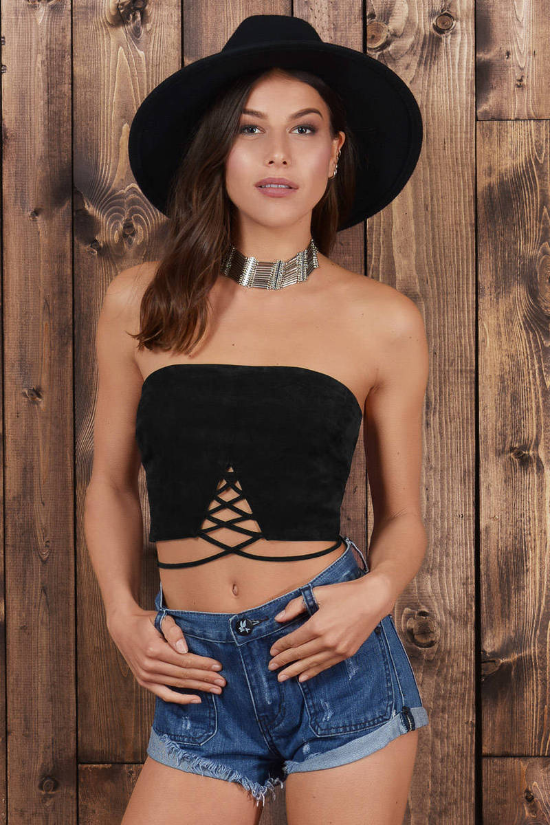 Only You Toast Genuine Suede Crop Top
