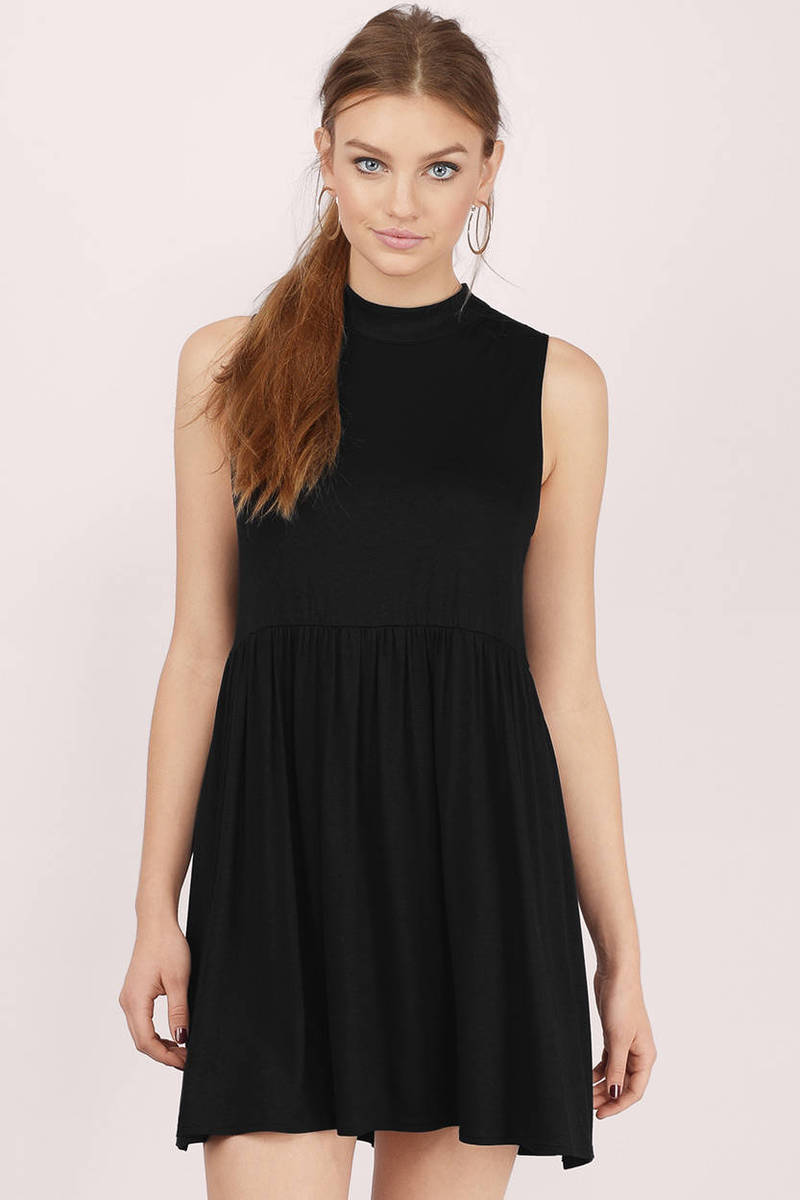 Open Window Black Skater Dress