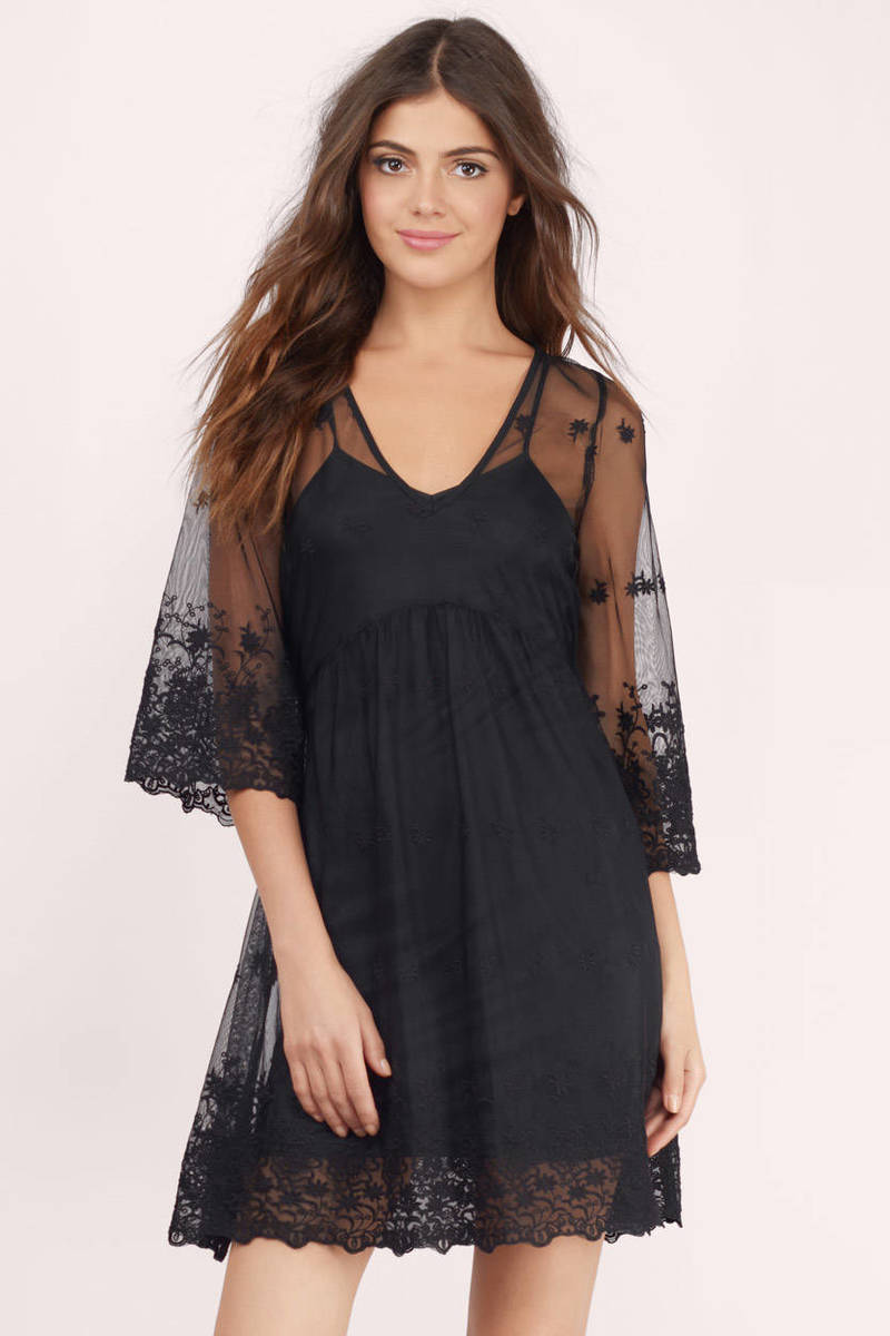 Otherwise Engaged Black Mesh Floral Shift Dress