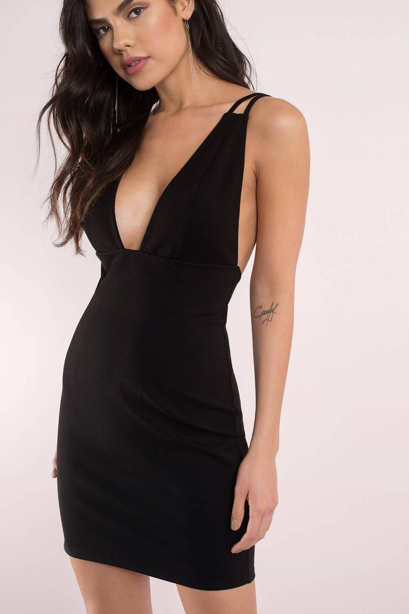 cc340d0e6e4f Sexy Black Dress - Deep V Dress - Form Fitting Dress - Bodycon Dress ...