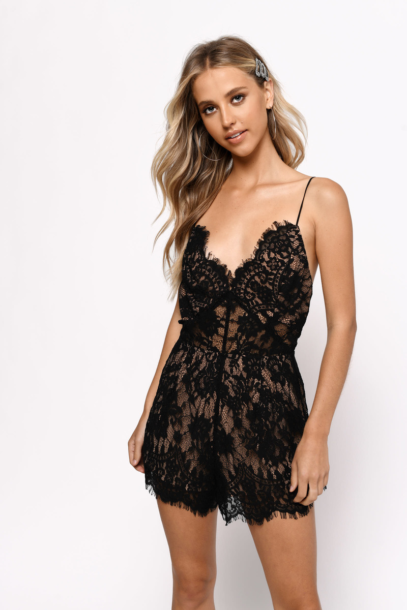067f3989ac13 Black Romper - Lace Trim Romper - Black Backless Romper - Sleeveless ...