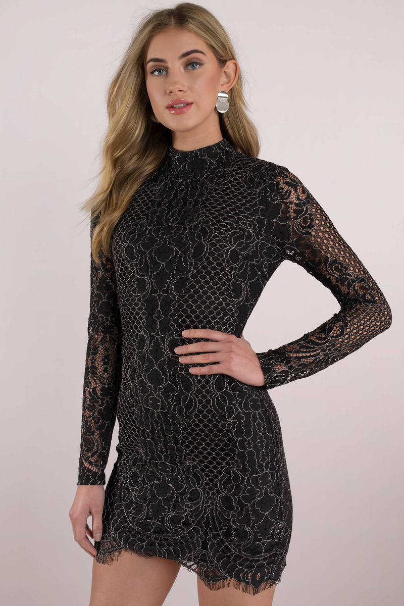 0b864b52b415 Black Bodycon Dress - Tight Lace Dress - Black Long Sleeve Dress ...