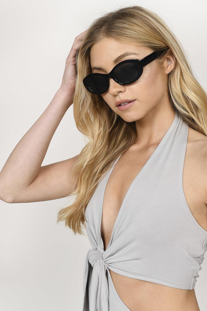 1b90713973 Over The Head Black Oval Shaped Sunglasses -  4