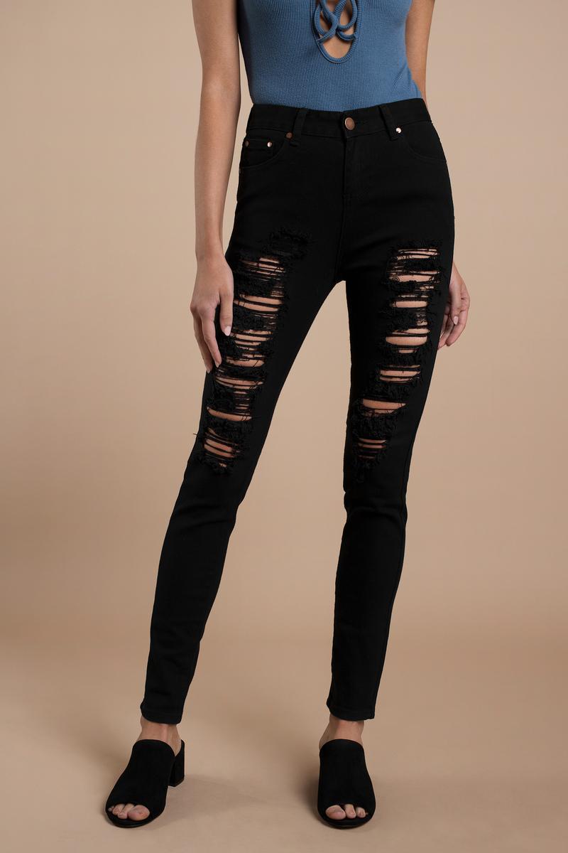 96bfd1b6be Trendy Black Jeans - Distressed Denim - Denim Jeans - Skinny Jeans ...