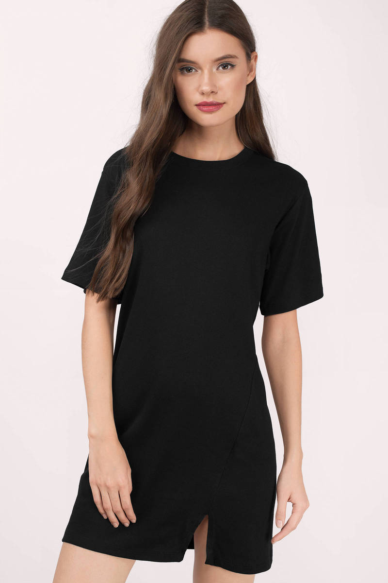 Paisley Black Ribbed Shift Dress
