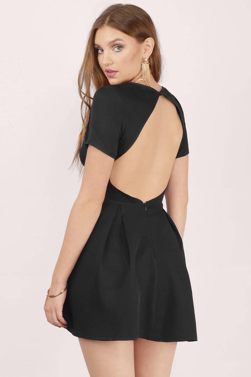 29c30ba44ee Sexy Black Skater Dress - Backless Dress - Skater Dress -  24