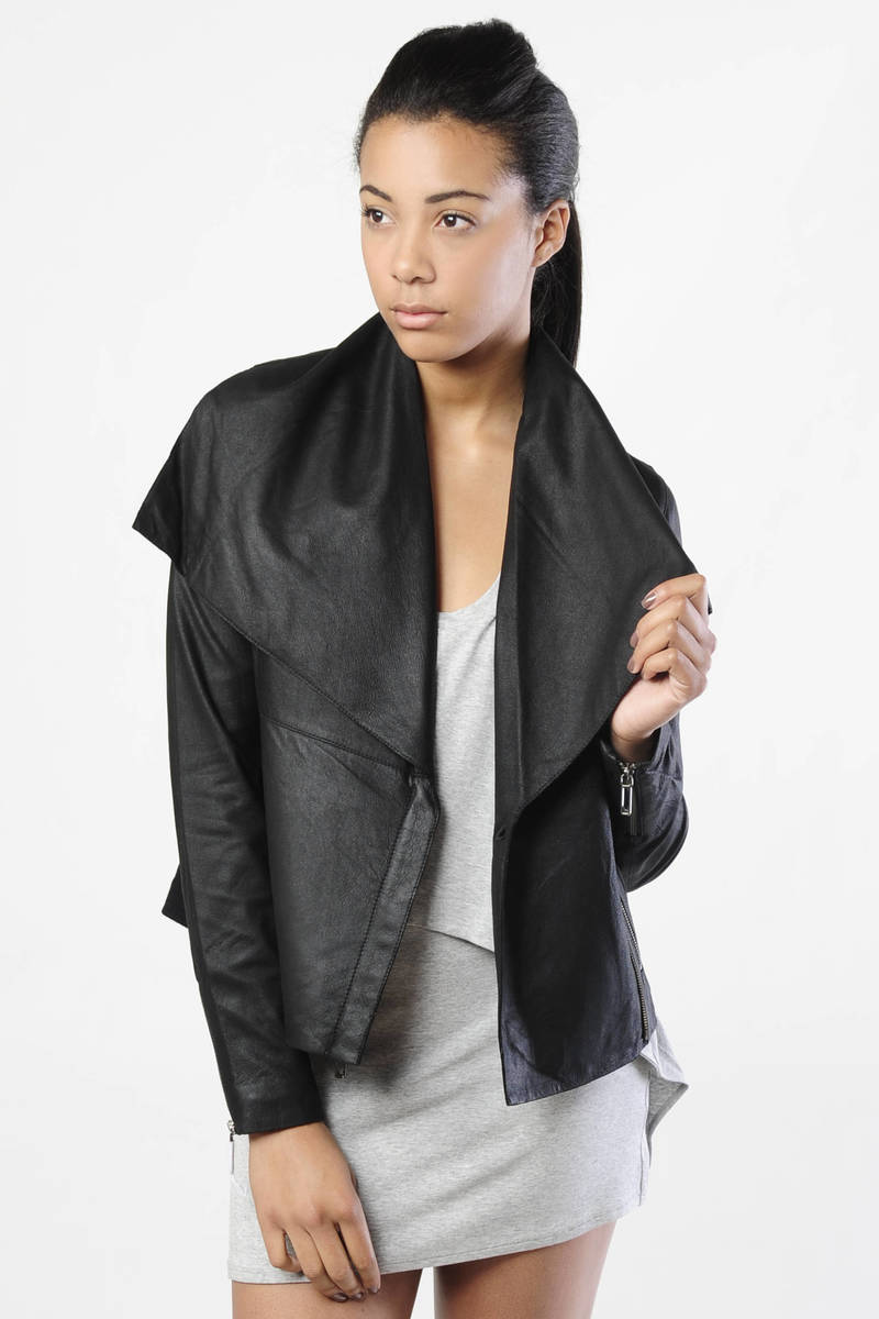 68d665207 Paper Leather Drape Collar Jacket