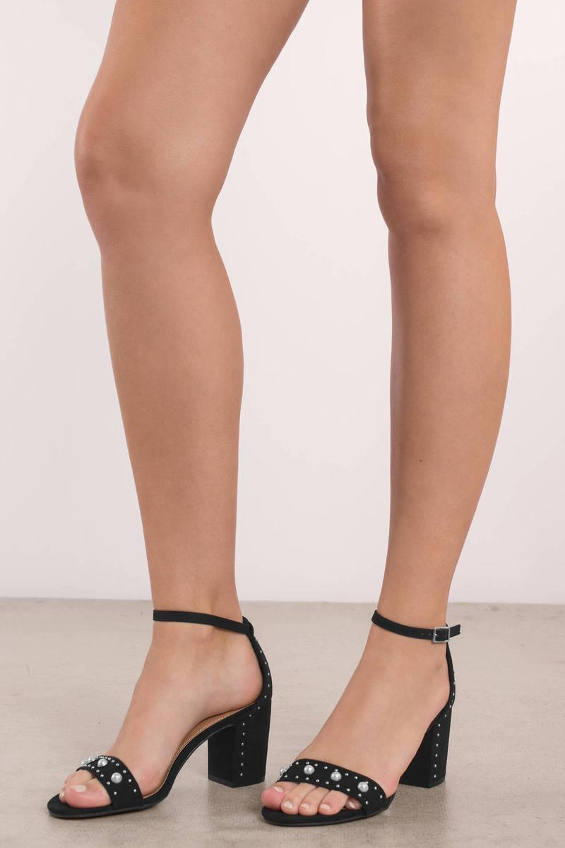 beee2bd2c93e Black Report Footwear Heels - Pearl Heels - Black Embellished Heels ...