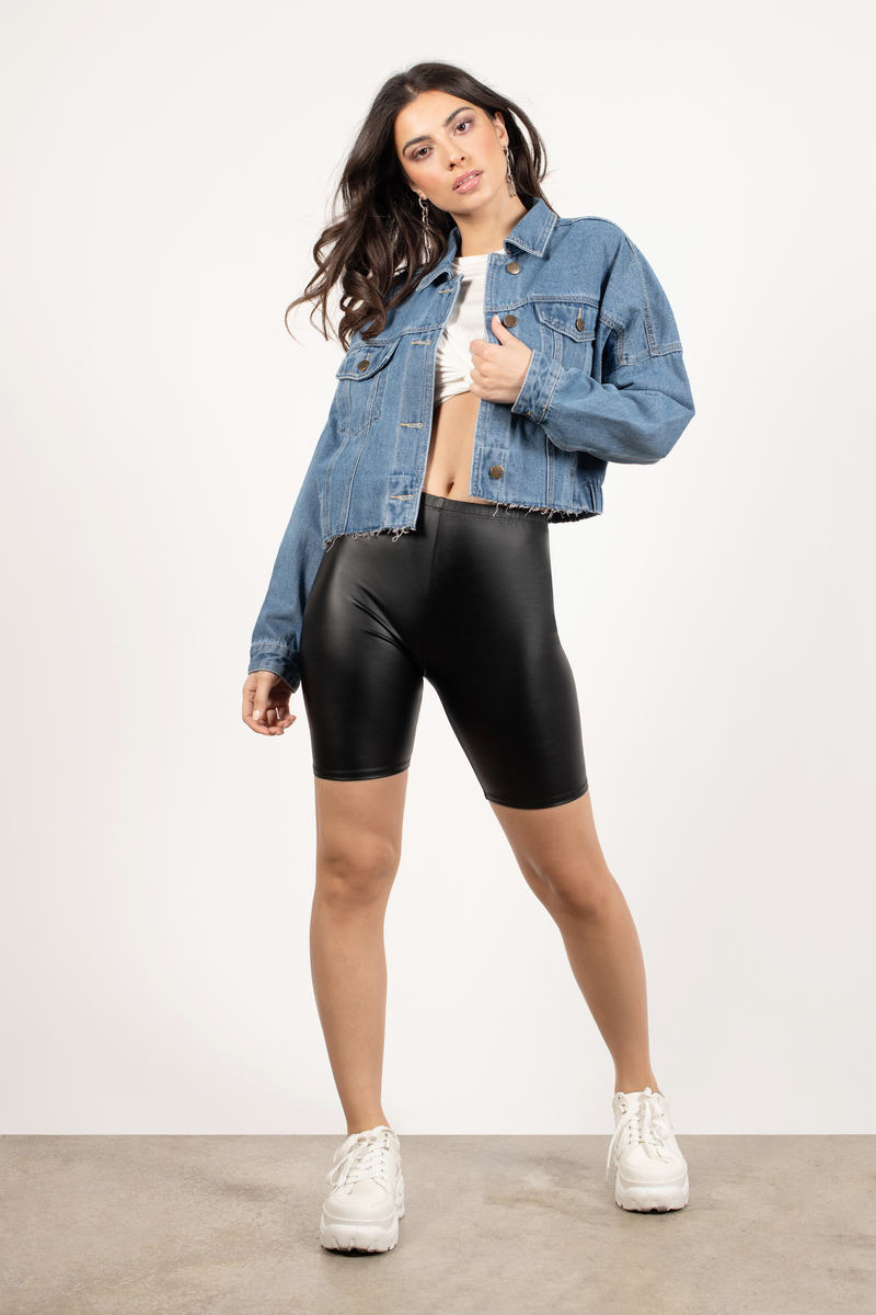 Pass By Faux Leather Biker Shorts In Black C 55 Tobi Ca