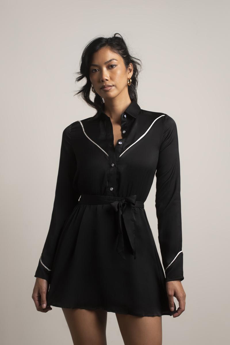 a6d345517cb3 Black Skater Dress - Western Dress - Black Collared Rodeo Dress - AU ...