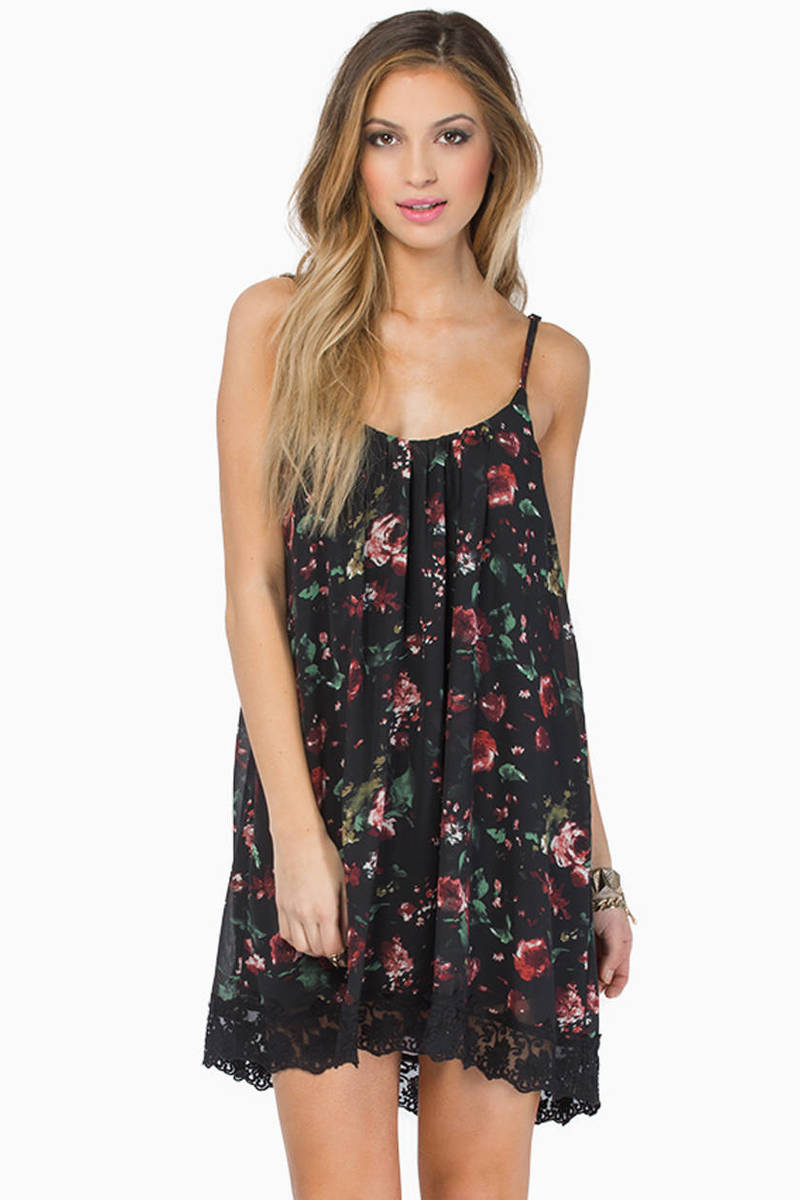 Payton Black Floral Shift Dress