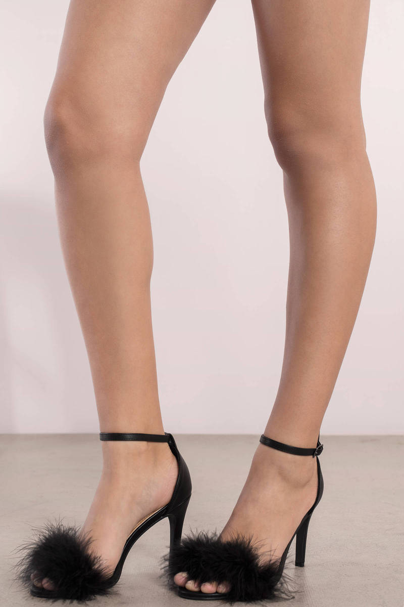 Penelope Black Feather Trim Heels
