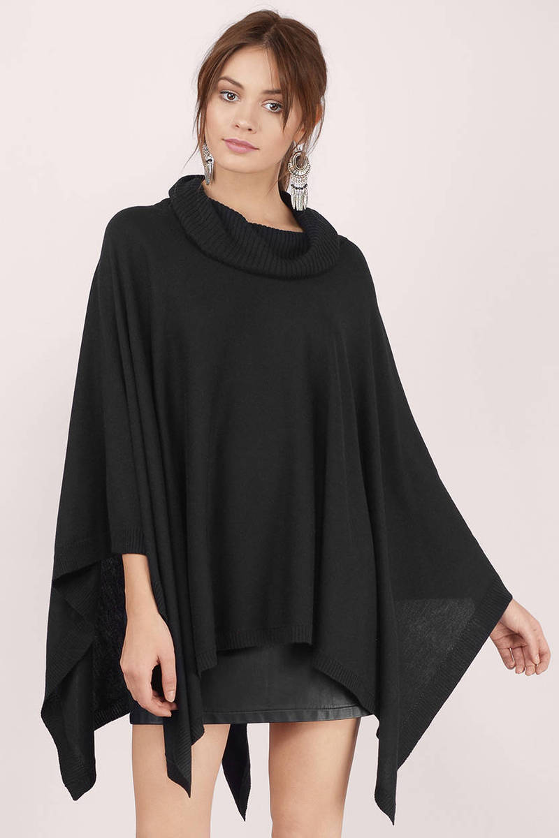Cheap Black Sweater - Cowl Neck Sweater - $22.00