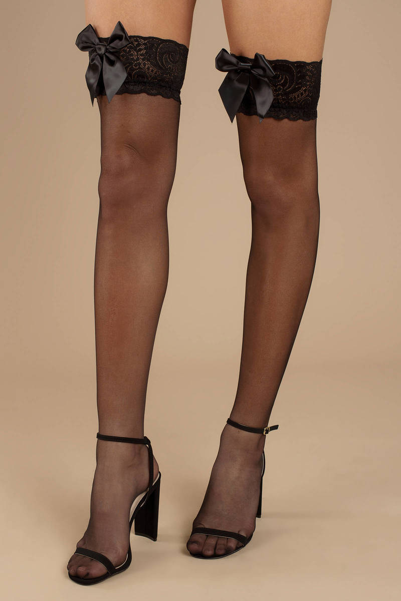 SHEER THIGH HIGH STOCKINGS WITH LACE TOPS Size OS /& QN White or Black