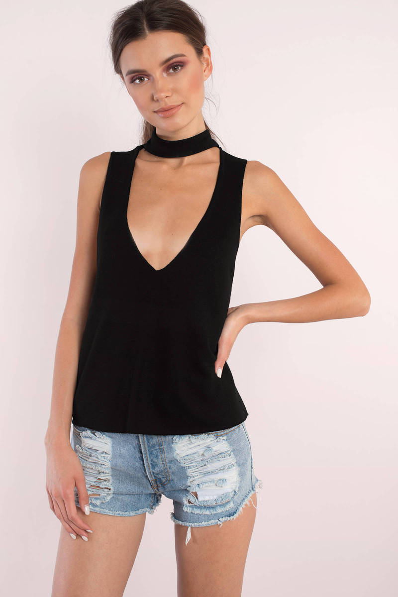 Perry Sage Choker Tank Top