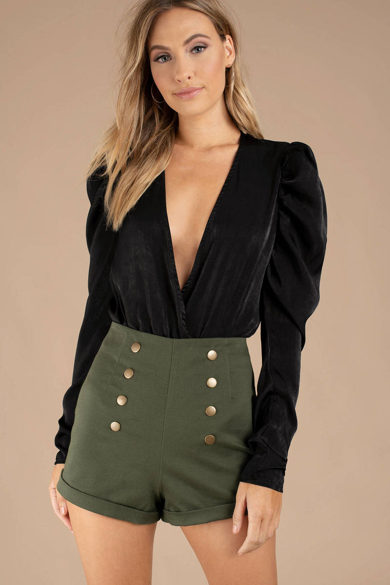 Presley Black Puff Sleeve Satin Bodysuit -  72  6b042b1fd