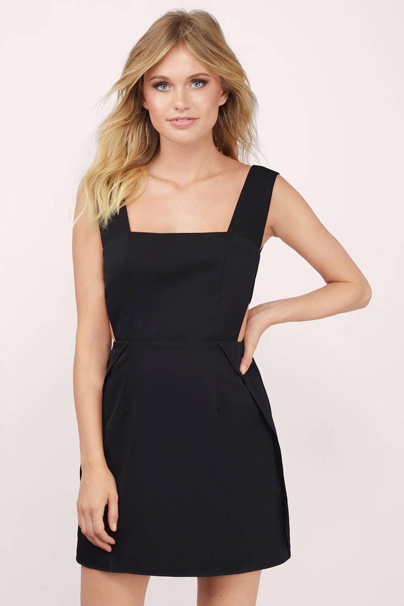 Pressed For My Pinafore Black Skater Dress