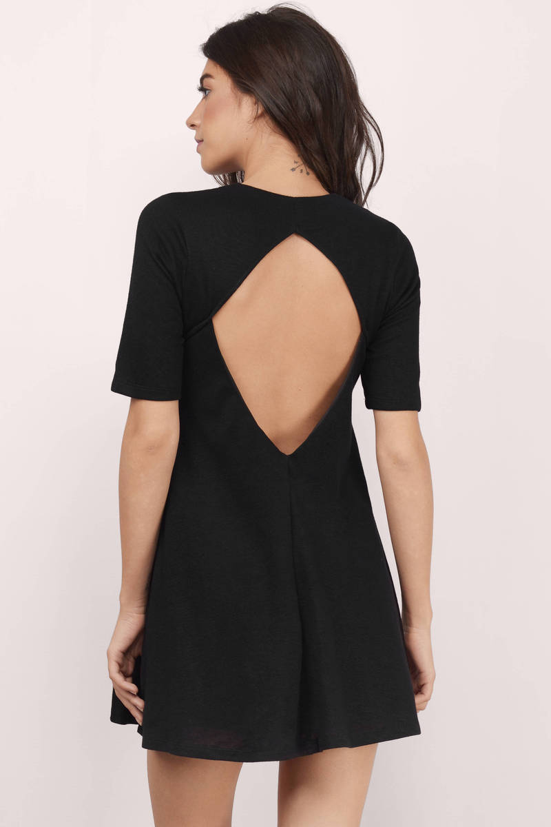 Pure Of Hearts Black Marled Swing Dress
