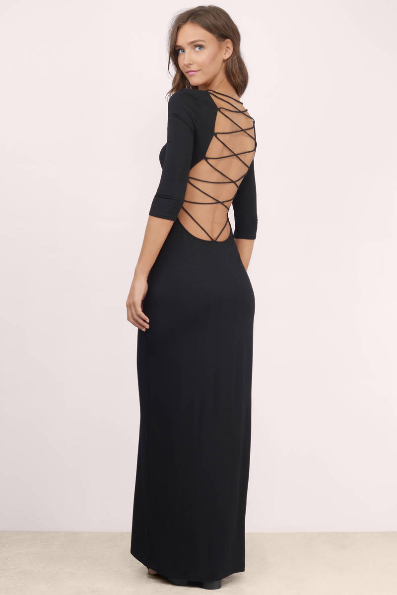Queen's Palace Taupe Lace Up Maxi Dress