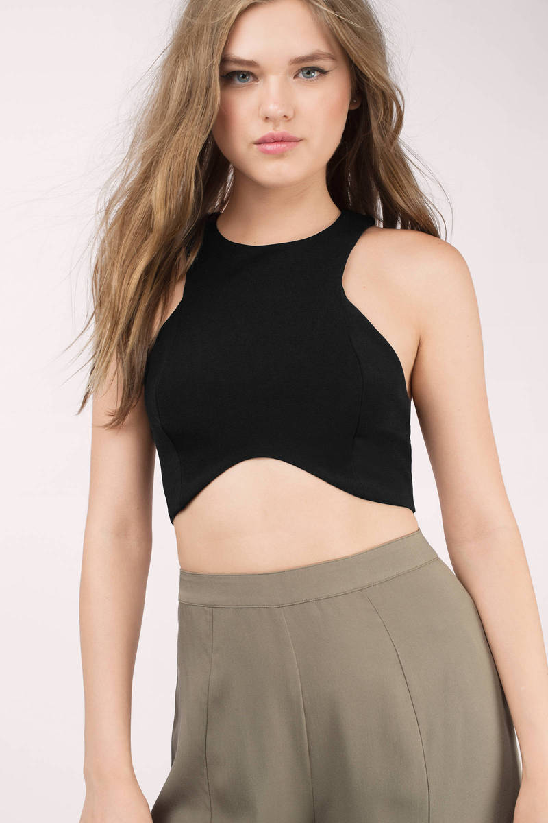 Race You There Black Crop Top