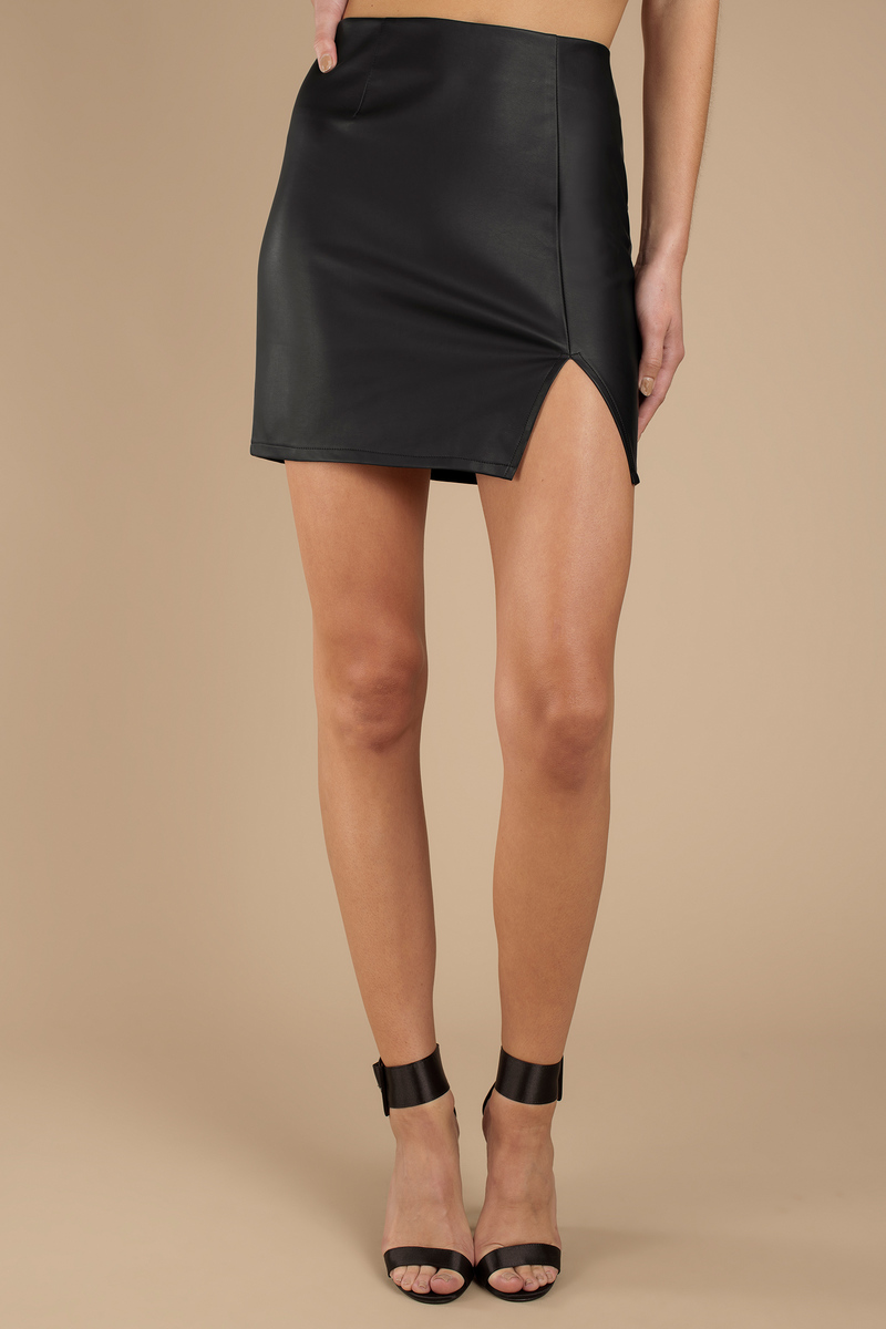031f6068e9 Black Skirt - Faux Leather Mini Skirt - Black Slit Skirt - Going Out ...