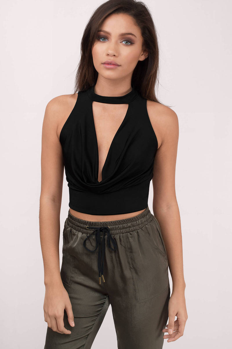 Raelyn Black Choker Cowl Neck Sleeveless Top