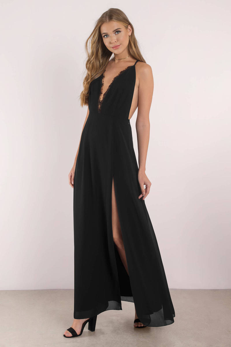 black dress with high slits cute black dress plunging neckline front slit dress 9253