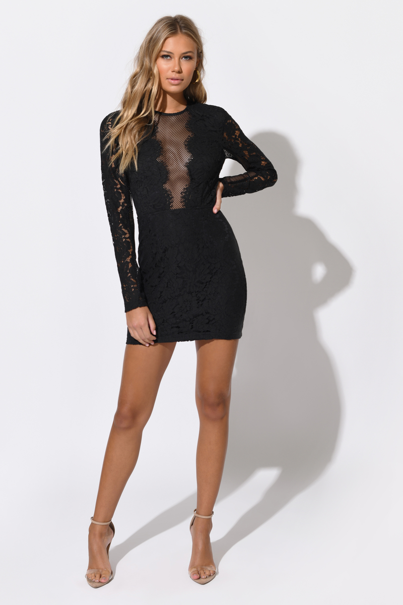 Cute Dress Lace Bodycon Dress Long Sleeve Black