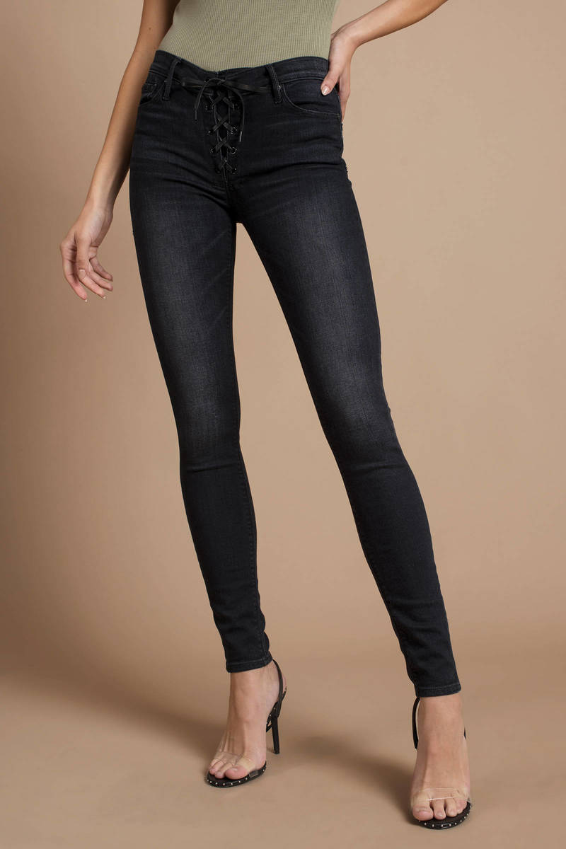 Black Jeans Lace Up Jeans Black Tight Jeans S 178 Tobi Sg