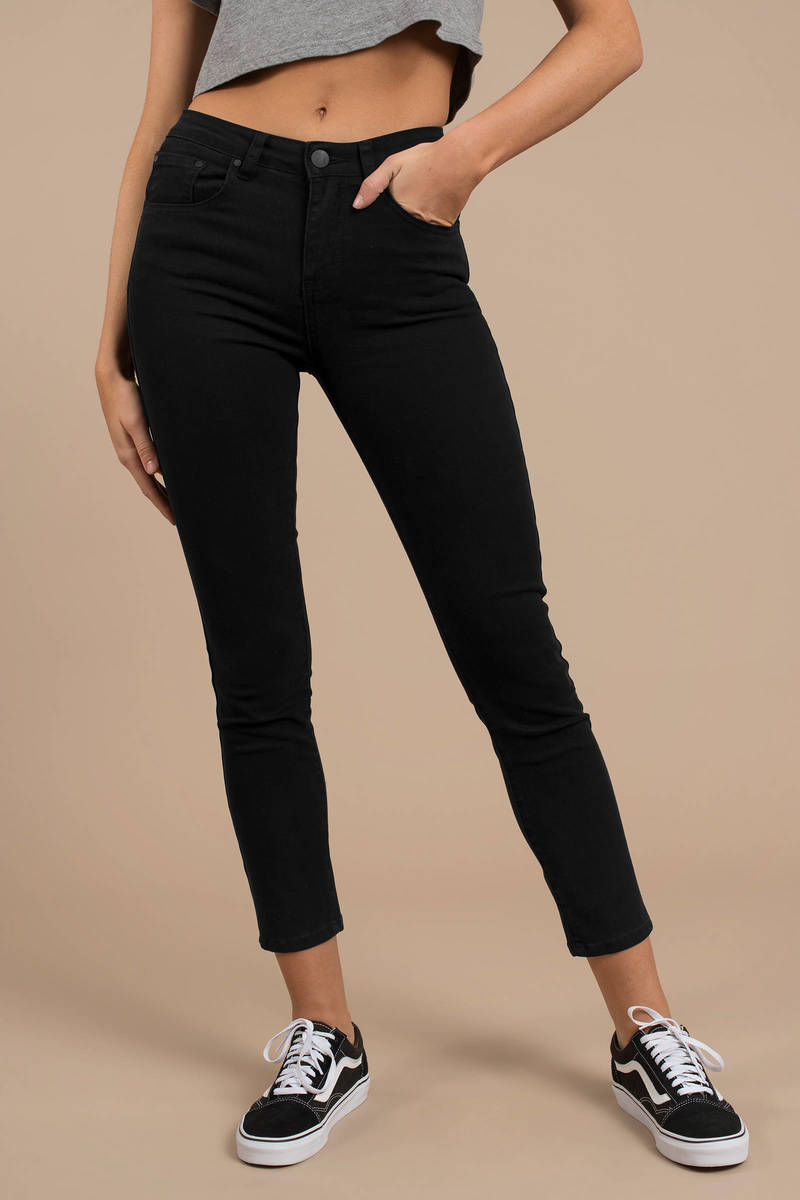 b567aacb941 Black Pants - Cropped Jeans - Black Skinny Jeans - Lace Up Capris ...