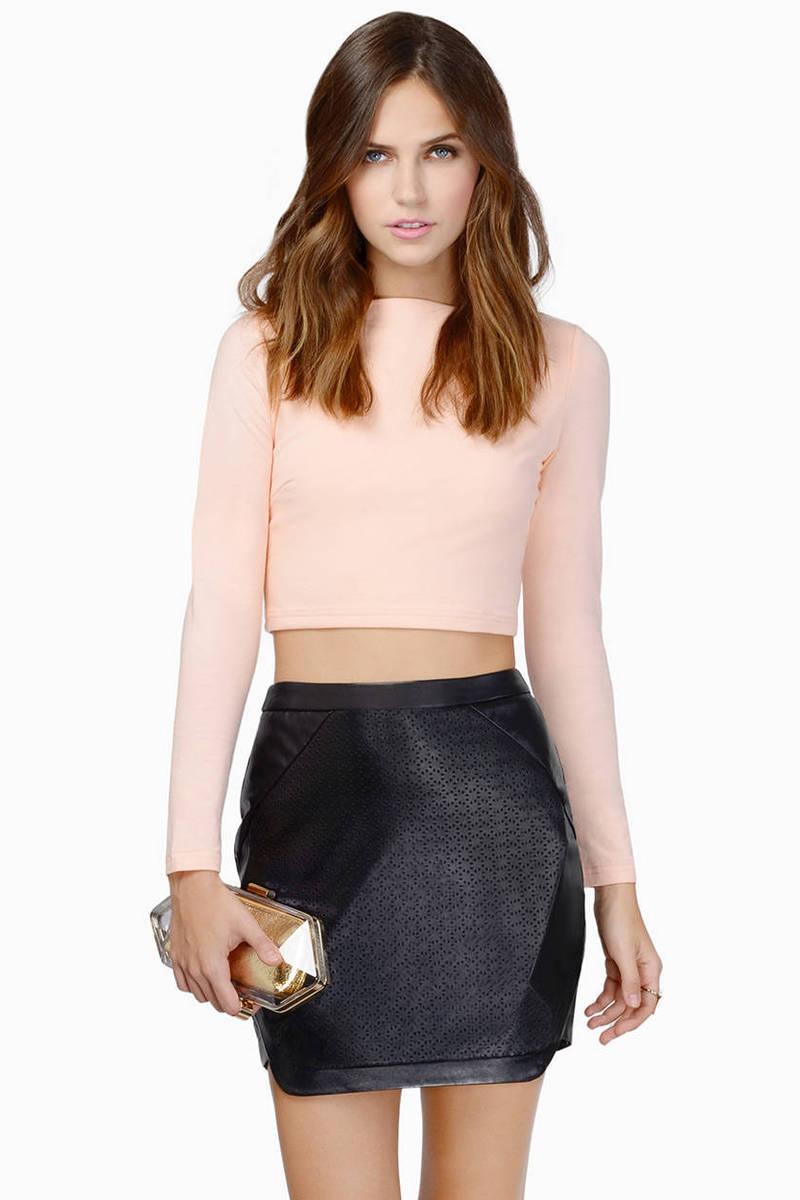 Razzmatazz Blush Faux Leather Skirt