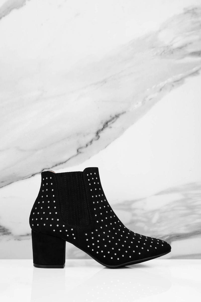Real Me Black Studded Ankle Boots