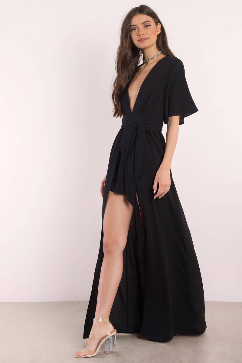 Black dress romper - Rebecca Black Romper Dress