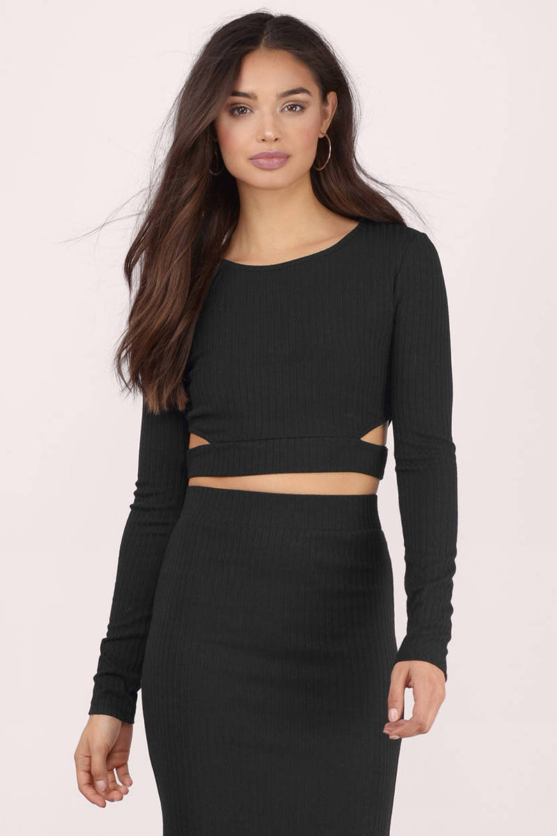 Rib Me Down Black Crop Top