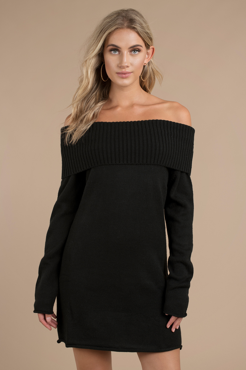 Cute Black Dress - Off Shoulder Dress - Long Sleeve Dress - $28 ...