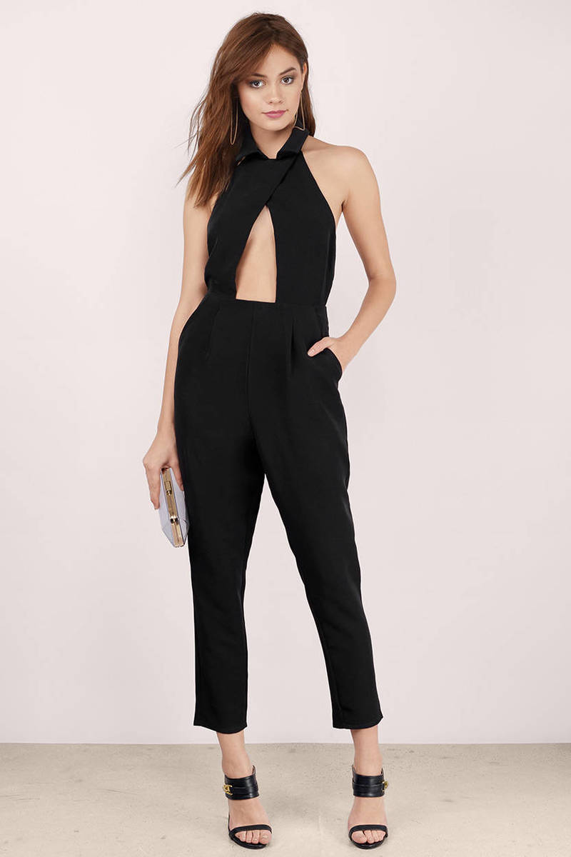 Right On Track Black Jumpsuit