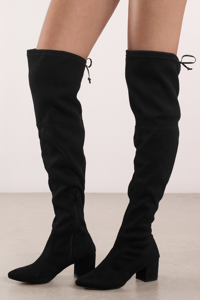 a89b3d69fb8 Black Boots - Block Heel Knee High Boots - Black Date Night Boots ...