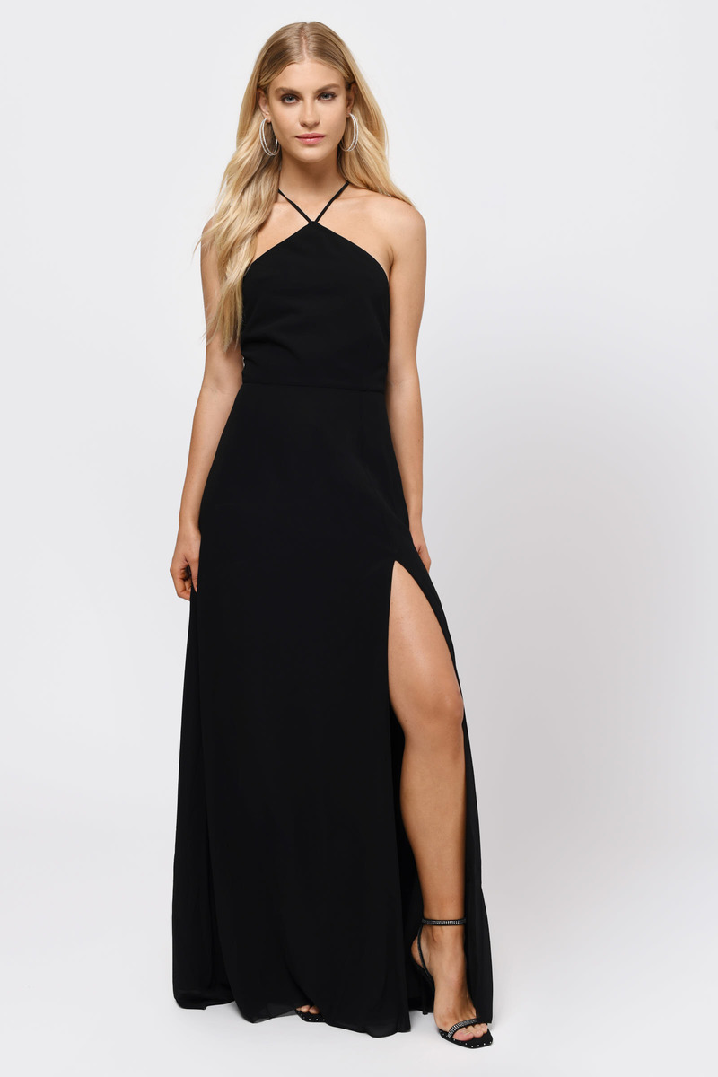 Rise Above Black Lace Up Maxi Dress